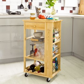 sobuy fkw12 n chariot de cuisine roulant bois meuble de rangement kitchen trolley desserte. Black Bedroom Furniture Sets. Home Design Ideas