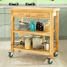 sobuy fkw24 n chariot de cuisine en bois de caoutchouc kitchen trolley desserte roulante avec. Black Bedroom Furniture Sets. Home Design Ideas