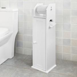 sobuy frg135 w support papier toilette armoir porte papier toilettes porte brosse wc en bois. Black Bedroom Furniture Sets. Home Design Ideas