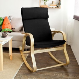 sobuy fst15 sch rocking chair fauteuil bascule fauteuil ber ante noir. Black Bedroom Furniture Sets. Home Design Ideas