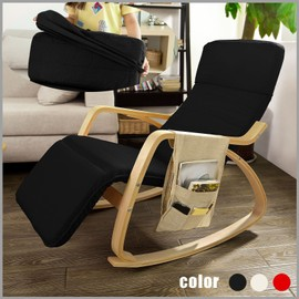 sobuy fst16 sch fauteuil bascule avec repose pieds design rocking chair noir. Black Bedroom Furniture Sets. Home Design Ideas