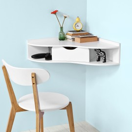 sobuy fwt26 w bureau d 39 angle table murale avec 1 tiroir blanc. Black Bedroom Furniture Sets. Home Design Ideas