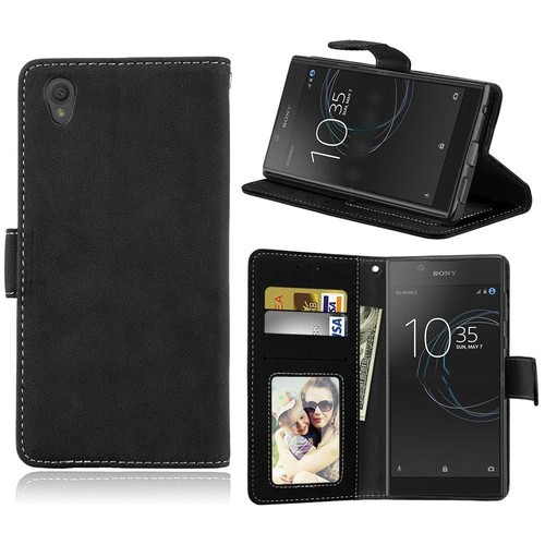 sony xperia l1 coque saturcase r tro givr pu cuir magn tique flip cover portefeuille support. Black Bedroom Furniture Sets. Home Design Ideas