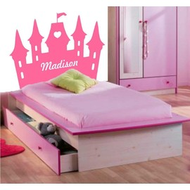 sticker chateau princesse pr nom enfant t te de lit. Black Bedroom Furniture Sets. Home Design Ideas
