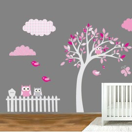 sticker de d coration murale motif arbre hibou achat et vente. Black Bedroom Furniture Sets. Home Design Ideas