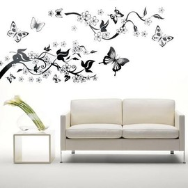 sticker mural auto collant en pvc fleur lierre papillon deco maison. Black Bedroom Furniture Sets. Home Design Ideas
