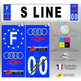 stickers plaque d 39 immatriculation car logo audi s line 4 pi ces. Black Bedroom Furniture Sets. Home Design Ideas