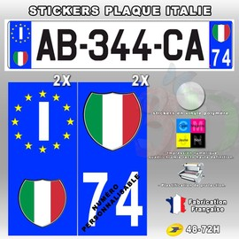 stickers plaque d 39 immatriculation logo italie 4 pi ces type 1. Black Bedroom Furniture Sets. Home Design Ideas
