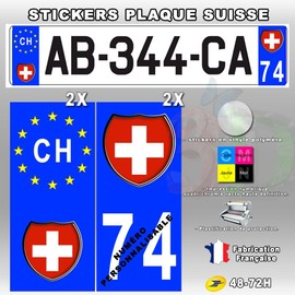 stickers plaque d 39 immatriculation logo suisse 4 pi ces type 1. Black Bedroom Furniture Sets. Home Design Ideas