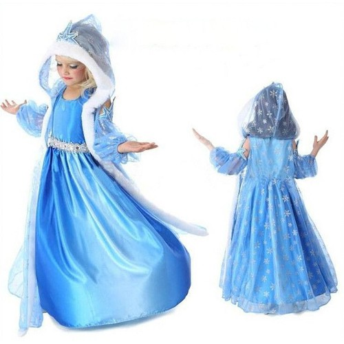 d guisement enfant costume robe elsa la reine des neiges gilet long grande capuche motif. Black Bedroom Furniture Sets. Home Design Ideas