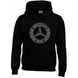 Sweat capuche noir logo mercedes benz argent vintage for Mercedes benz sweatsuit