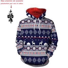 7d1dbed431f8 Sweat Shirt Homme Hiver Marque Luxe Flocon De Neige Noël Imprimé Sweat À Capuche  Hommes Vêtement ...