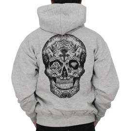 Sweat shirt zipp capuche homme tattoo t te de mort - Tatouage cavalera ...