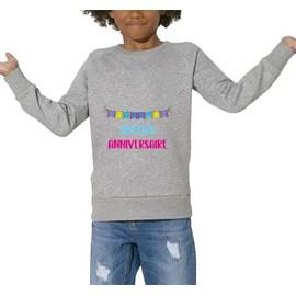Sweatshirt Joyeux Anniversaire Enfant Mixte Gris 12 Ans