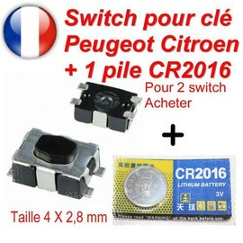 switch bouton de cl pliante t l commande plip peugeot citroen 207 c4 307 407 c3. Black Bedroom Furniture Sets. Home Design Ideas