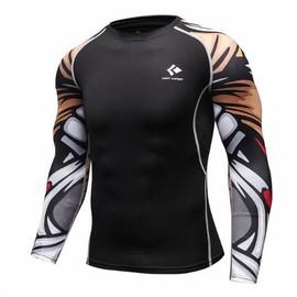 T-Shirt De Compression Homme Fitness Musculation Manches Longues Maillots  Vêtements Mma Entraînement Sport Tete De ... d421a5775b90