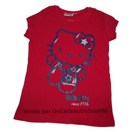 43b2556d11ce1 T-Shirt De Marque Hello Kitty Rouge Pour Fille Since 1976 Enfant 100% Coton  Taille   8 Ans ...