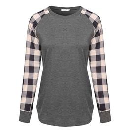 Longues Imprime Manches Carreaux Shirt Col Rond T Coupe Femme Droite DIYEW2eH9