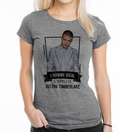 T-Shirt Femme Gris L'homme idéal : Justin