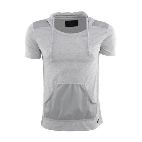 T-Shirt Gris Clair Capuche Bi Matière Homme Fashion   Tendance Taille Xl dfee6da3c5c4