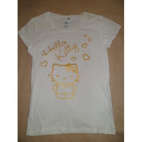 T Shirt H M Imprimes Hello Kitty Blanc Dore Femme Achat Et Vente