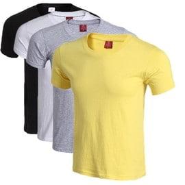 4 Courtes Lot De Noir Homme T Shirt Jaune Manches Uni Blanc Gris SUpGzqMV