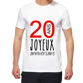 Joyeux Anniversaire 20 Shirt Blanc Homme T Premium Xxl Ans VUzpSM