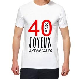 T Shirt Premium Joyeux Anniversaire 40 Ans Homme Blanc Xxl