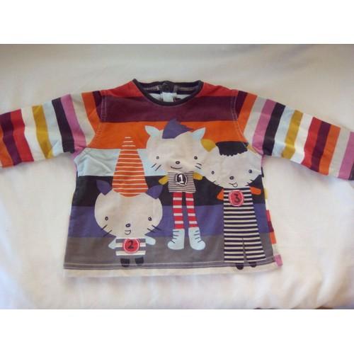 c126849722a90 T-Shirt Manches Longues Motifs Chat Catimini 6 Mois Multicolore