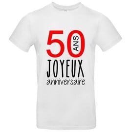 T Shirt Premium Joyeux Anniversaire 50 Ans Homme Blanc Xxl
