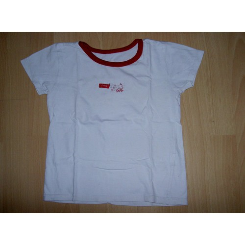T-Shirt Tee Shirt Blanc Col Rond Rouge Manches Courtes Motif So Pretty  Fleurs Orchestra Taille ... b9d581317781