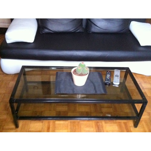 Table basse 20 euros m tal noir verre pas cher priceminister - Table basse 20 euros ...