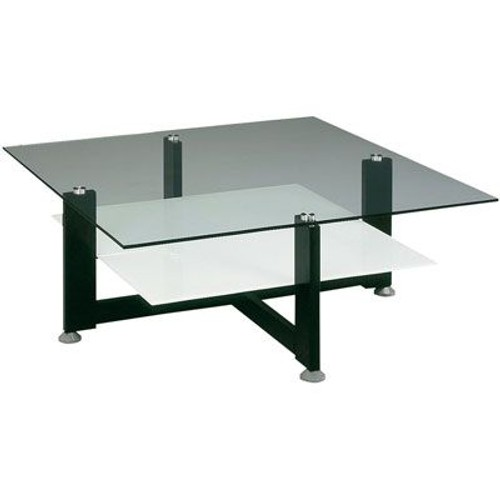Table basse double plateau en verre maison design for Petite table basse en verre