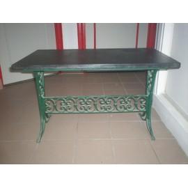 Table Basse Ancienne En Fer Forge Et Marbre Noir