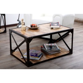 table basse bois massif et m tal industrielle atelier. Black Bedroom Furniture Sets. Home Design Ideas