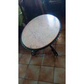 Table Basse De Salon Ovale Pied En Fer Forge Et Dessus Marbre Rose