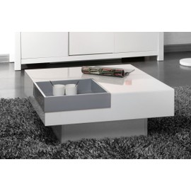 Table basse design laqu e blanche plateau gris amovible teena for Table basse blanche pas cher
