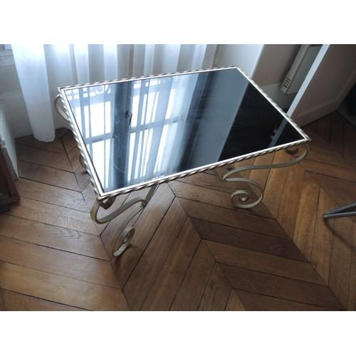 Table basse fer forg et verre noir achat et vente for Table basse fer forge et verre