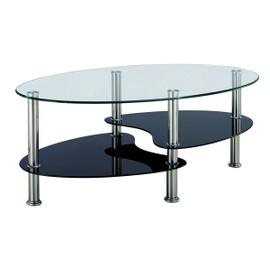 Table Basse Noir Et Blanc En Verre Trempe Ovale Opunake Rakuten