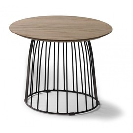 Table Basse Ronde 50cm En Bois De Chêne Et Pieds Métal Noir Emeline
