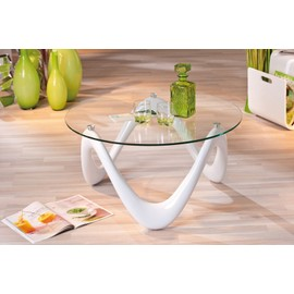 Table basse valentine blanche ronde brillante table de salon en verre moderne - Table de salon ronde en verre ...