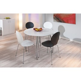 Table cellini ronde blanche en mdf pieds en m tal chrom for Table de cuisine ronde