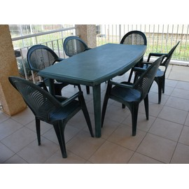 Table De Jardin Plastique Vert Corolia Evolutif - Achat et vente