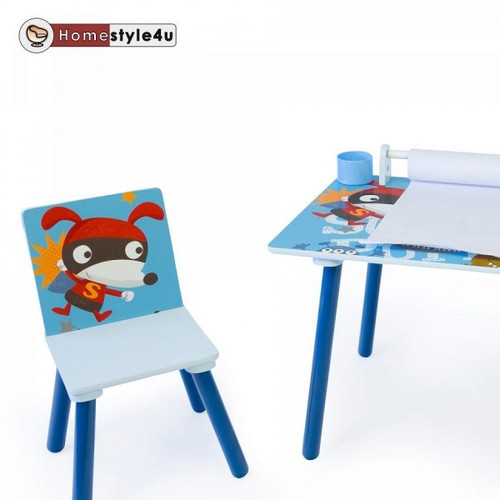 table dessin enfants bureau avec rouleau de papier et tabouret. Black Bedroom Furniture Sets. Home Design Ideas