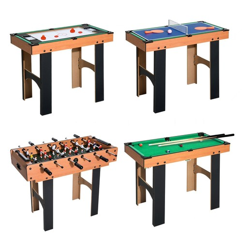 table multi jeux 4 en 1 babyfoot billard air hockey ping pong avec accessoires mdf bois 87 x 43. Black Bedroom Furniture Sets. Home Design Ideas