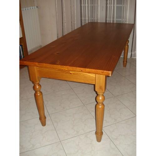 table rectangulaire pin massif teinte miel cire achat et vente. Black Bedroom Furniture Sets. Home Design Ideas