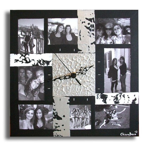 tableau horloge cadre photo album noir gris blanc art contemporain moderne abstrait de chiaradeco. Black Bedroom Furniture Sets. Home Design Ideas