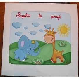 Tableau pour chambre enfant l phant girafe 30cmx30cm - Tableau chambre petite fille ...