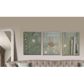 tableau tryptique creation unique peinture moderne originale sur toile art contemporain deco. Black Bedroom Furniture Sets. Home Design Ideas