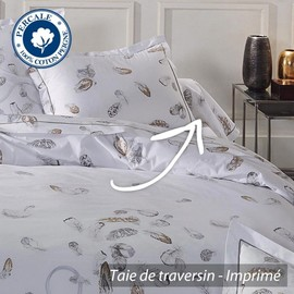taie de traversin 200x43 cm percale pur coton plumes. Black Bedroom Furniture Sets. Home Design Ideas